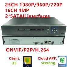 4MP 25ch canal 1080 P CCTV NVR 16CH DVR HD720P Onvif Grabador de Reproducción En Tiempo Real de Salida HDMI/960 P/1080 P Red De Cámaras Ip