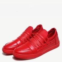 Men's Red Shoes Pu Leather Shoes Flats Leisure Walking Shoes Shoelaces Decoration