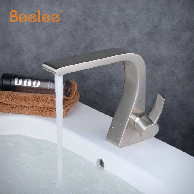 Single Handle Single Hole Waterfall Bathroom Sink Faucet Black Anr
