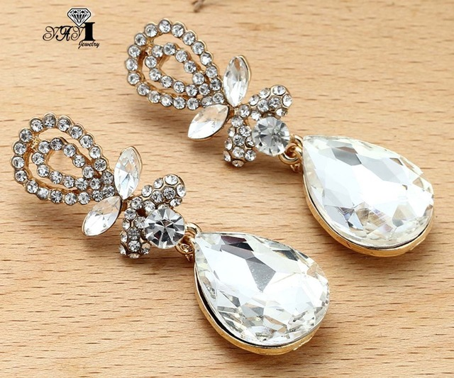 773d52c5eb US $2.3 8% OFF|YaYi Jewelry New White Glass Rhinestone Dangle Crystal  Earring Women's Fashion Ancient Gold Color Gem Earrings Gift 1206-in Drop  ...