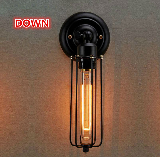 110-220v Loft American country Industrial style Iron Retro Small cages Wall lamps Vintage Industrial Lighting цена 2017