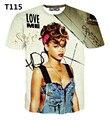 [Amy] Moda verão T Camisa Dos Homens/Mulheres rihanna print-manga curta 3d ocasional t-shirt fornecimento de diamantes co tamanho-m-xxl