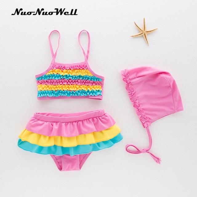 2018 new Baby Girls Swimsuit Children s Kids Bathing Suit Swimwear Hat+Suits  3pcs fresh rainbow color belt swimsuit 1-3 years ebb670a0d86