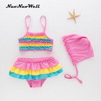 ae1454b6e1a6f 2018 New Baby Girls Swimsuit Children S Kids Bathing Suit Swimwear Hat Suits  3pcs Fresh Rainbow