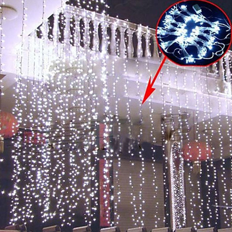10pcs 3*3M 300LED Curtain Light Showcase Lighting Holiday Christmas Party Wedding Background Decor LED - Online Get Cheap Led String Lights Wholesale -Aliexpress.com