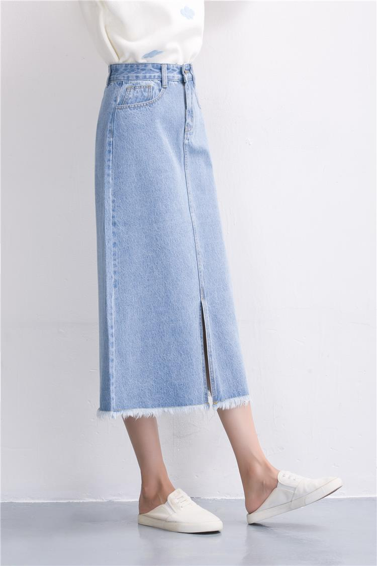 Slits a word denim skirt female 2016 new winter high waist a word length denim skirt 23