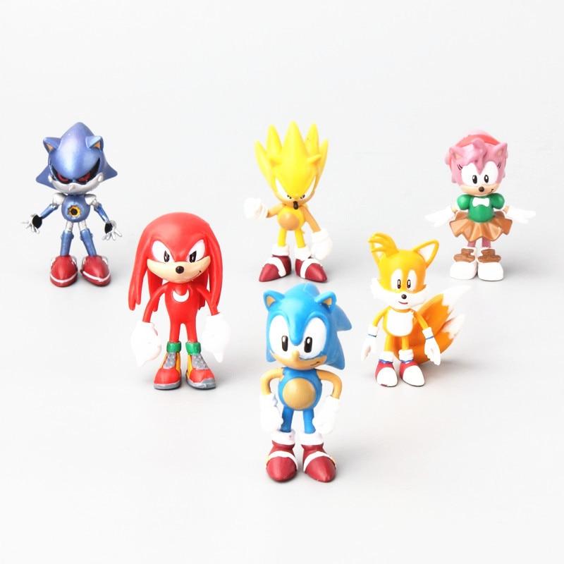 6pcs/set Sonic Boom Rare Dr Eggman Shadow The Hedgehog Knuckles Tails Amy Super metal Sonic pvc action figure doll model sonic boom brinquedo