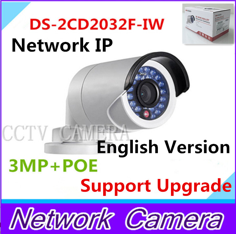 English Version 3MP IR Bullet Network IP camera WIFI 3.0MP Bullet cctv camera with POE Network mini camera DS-2CD2032F-IW