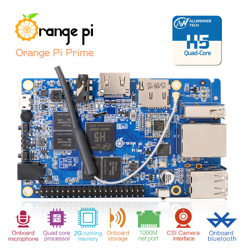 Orange Pi Prime: Development Board H5 Quad-core Support linux and android Beyond Raspberry Pi 2 Wholesale is available