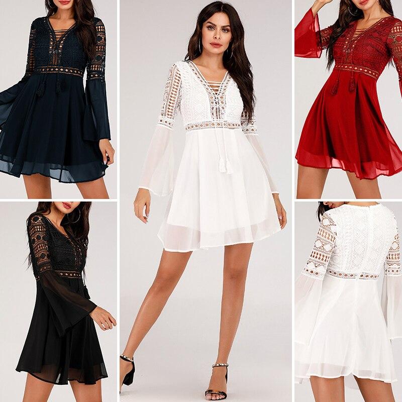 Hollow Out White Dress Sexy Women Mini Chiffon Dress 32