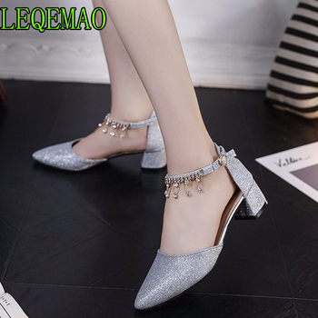 Fashion Buckle Crystal Bling Pumps Women Elegant Square Heels Point toe Party Wedding Shoes Woman Sexy Bridal Pumps Stiletto basic pump