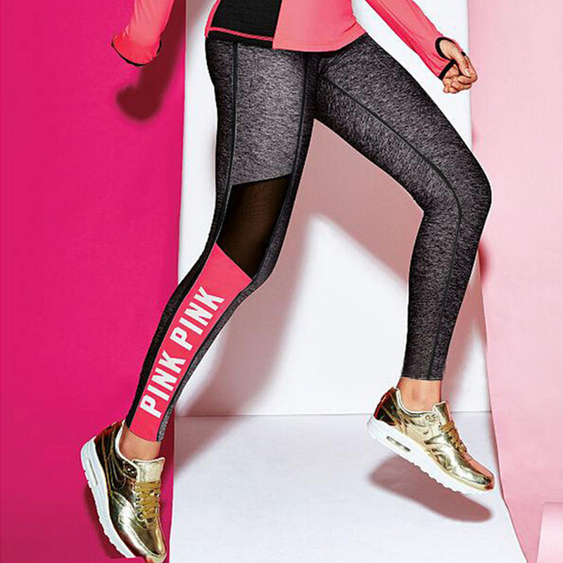 Mesh Splicing Women   Leggings   Push Up Bodybuilding Pants High Elasticity Letter PINK Patchwork Fitness   Leggings   Women Plus Size