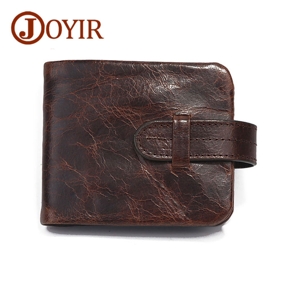 JOYIR Brand Men Wallets Crazy Horse Genuine Leather Small Wallet Male Clutch Wallet Credit Card Holder Real Leather Men Purse crazy horse leather billfolds wallet card holder leather card case for men 8056r 1