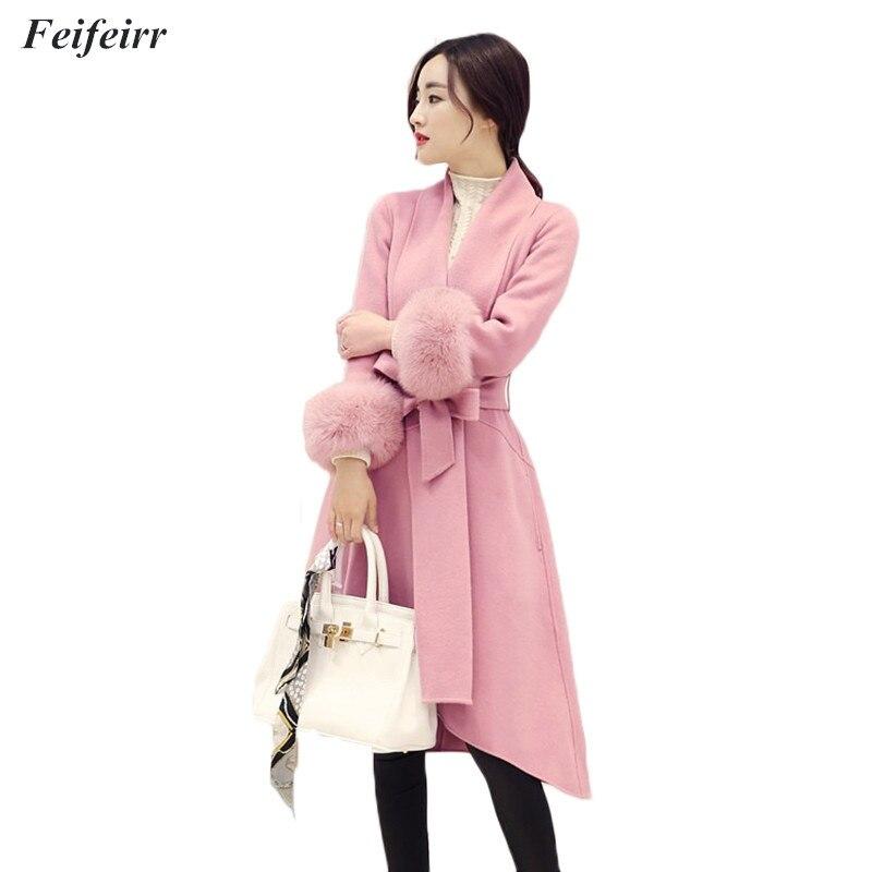 Femminile Cappotto Autunno Cintura Inverno Di Lunga 2018 Lana Gray camel  Moda pink Nuovo Sottile Miscela ... a383b2f7bba