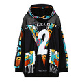 Harajuku Alphabet Print Number 2 Black 3D Hoodies Casual Loose Long Sleeved Sweatshirts Female Fashion Pullovers Outerwear Tops