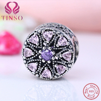 Authentic 925 Sterling Silver Jewelry Crystal Blossom Flower Charms Fit Pandora Bracelet Bangle DIY Original Jewelry Making