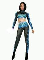 Blaue Flamme Leggings Overall Sexy Bühnenshow Dance Wear Bodysuit Prom Feiern Outfit Leistung einteiliges Bodsuits DJ GOGO