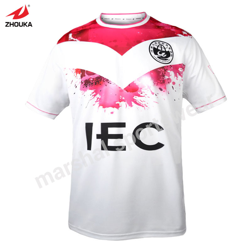 7bf1c21dd White and pink custom soccer t-shirt top quality sublimation print  100%polyester factory