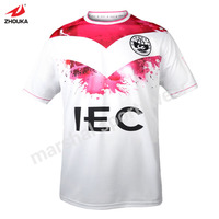 White And Pink Custom Soccer T Shirt Top Quality Sublimation Print 100 Polyester Factory Price New