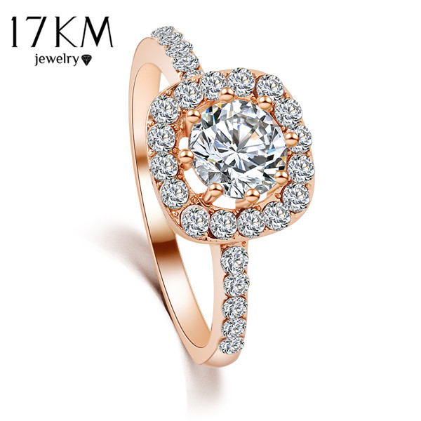 17KM Brand Design New Fashion Elegant Luxury Charm Crystal Ring jewelry Rose Gold Color Wedding Bride Accessories for women