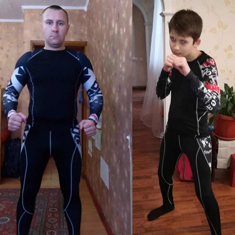 Наборы для тренировок и упражнений Подростковая голова Волка 3D печать бой спортивный костюм стрейч быстросохнущая одежда для фитнеса комплект компрессионные для ММА