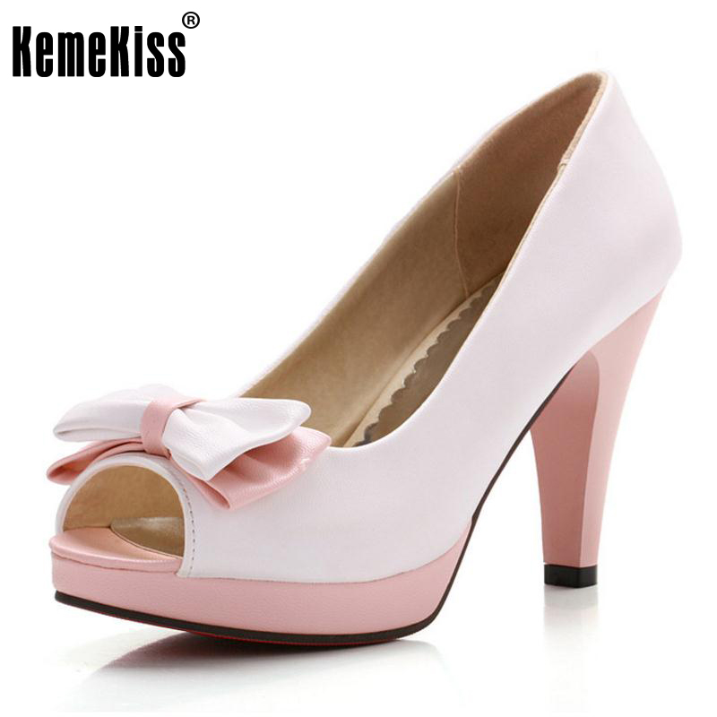 KemeKiss Woman Peep Toe High Heel Shoes Platform Sexy Ladies Dress Shoes Women Wedding Pumps Heeled Footwear Size 33-43 PA00528 hot selling crystal embellished wedding heels sexy peep toe platform pumps woman high heel shoes