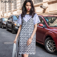 PLAMTEE Retro Black And White Lace Dress For Women Hit Color Spaghetti Strap Dresses S M