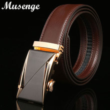 Musenge Leather Belt Designer Belts Men High Quality Cintos Mens Designer 2017 Fashion Formal Cowskin Leather Automatic Buckle