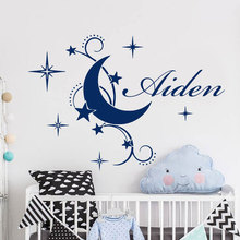 Personalized Boy Name Wall Sticker Vinyl Home Decor For Kids Room Baby Nursery Moon Stars Cartoon Decals Custom Murals A201