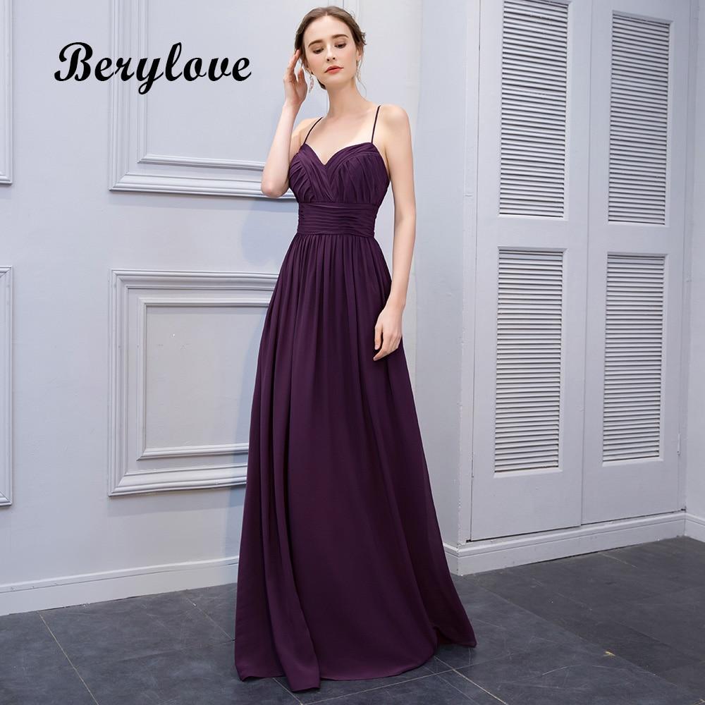 BeryLove Simple Purple Prom Dresses 2018 Spaghetti Straps Long ...