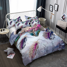 WINLIFE 3D Bedding Set with Matching Pillow Cases Feather Print Girls Duvet Covers Zippers