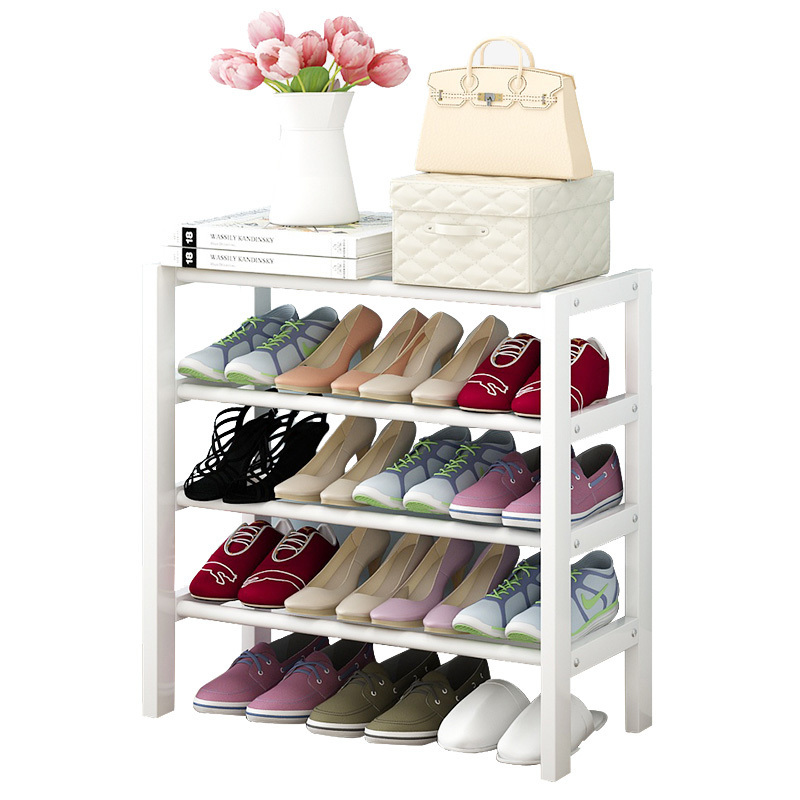 Wooden folding simple Household economy shelves Multifunctional dust shoe rack continental iron shoe multilayer simple stainless steel dust storage shoe iron shoe rack folding shelves