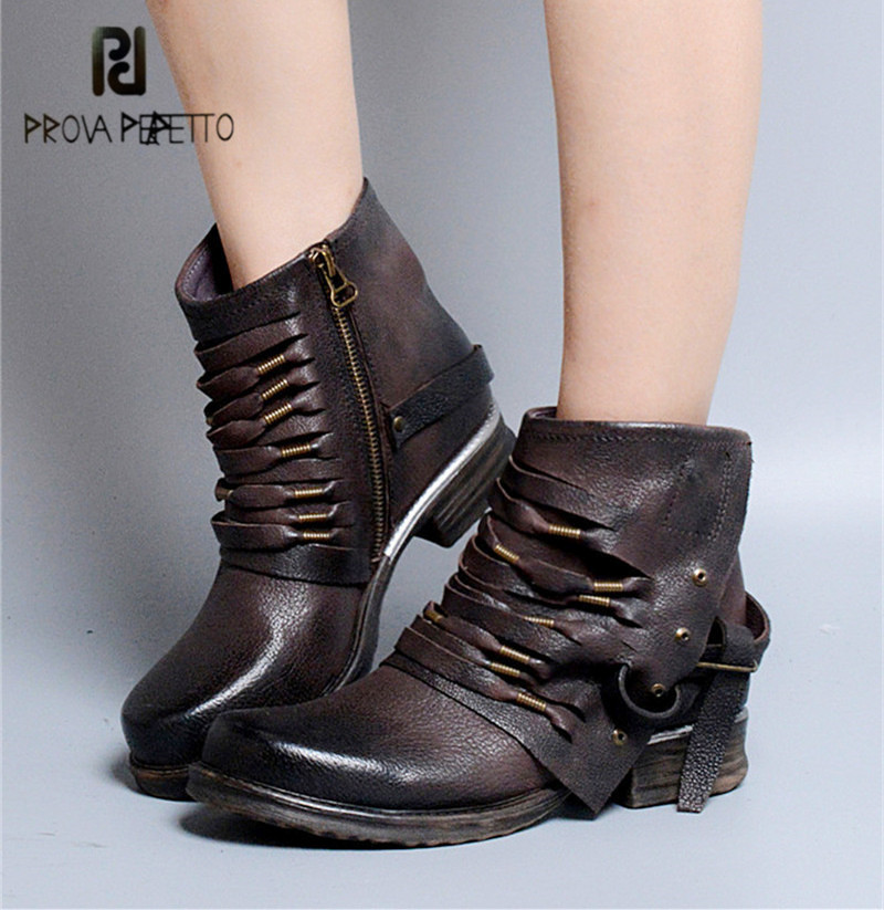 Prova Perfetto Brown Women Retro Ankle Boots Side Zipper Genuine Leather Short Botas Mujer Fringed Flat Martin Boots Female prova perfetto 2017 winter women warm snow boots buckle straps genuine leather low heel fur boots retro mid calf botas mujer