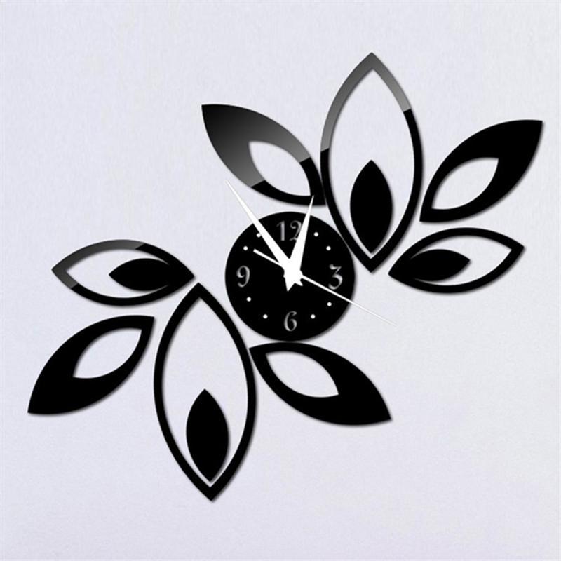 Unsicher Selbstbewusst Gehemmt schwarz Befangen Verlegen Spiegel Wanduhr Raute Blätter Aufkleber Dekoration