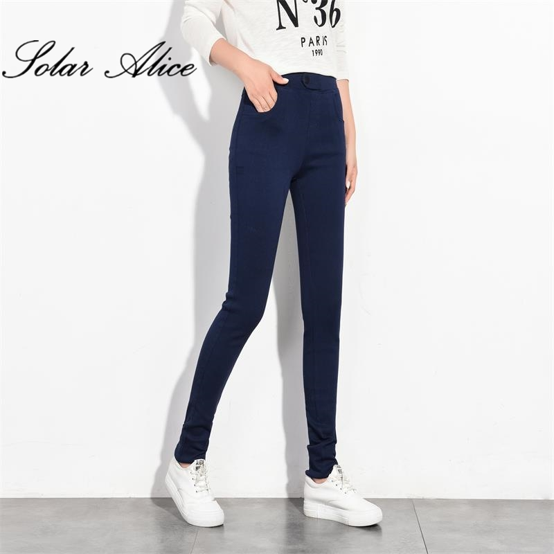Free Shipping 2018 New High Quality Women s Casual Plus Long Navy Blue Pants High Girls