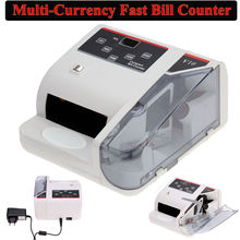 BOBLOV Bank Note Multi-currency Bill Counter Detector Money Fast Counting 100-240V W/UV Free shipping mini portable counter machine multi paper currency handy cash money counter counting machine equipment
