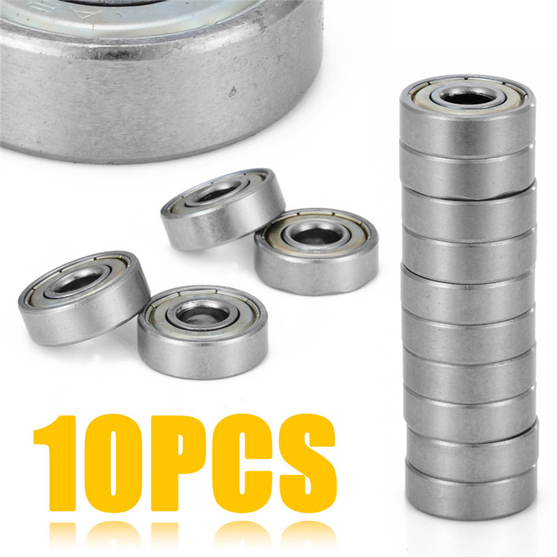 Mayitr 10pcs 608ZZ Mini Metal Double Shielded Flanged Bearings Professional Deep Groove Ball Bearing 8*22*7mm For 3D Printer 10pcs small wear 608zz ball bearing mayitr carbon steel precise deep groove bearings for skateboard roller blade scooter