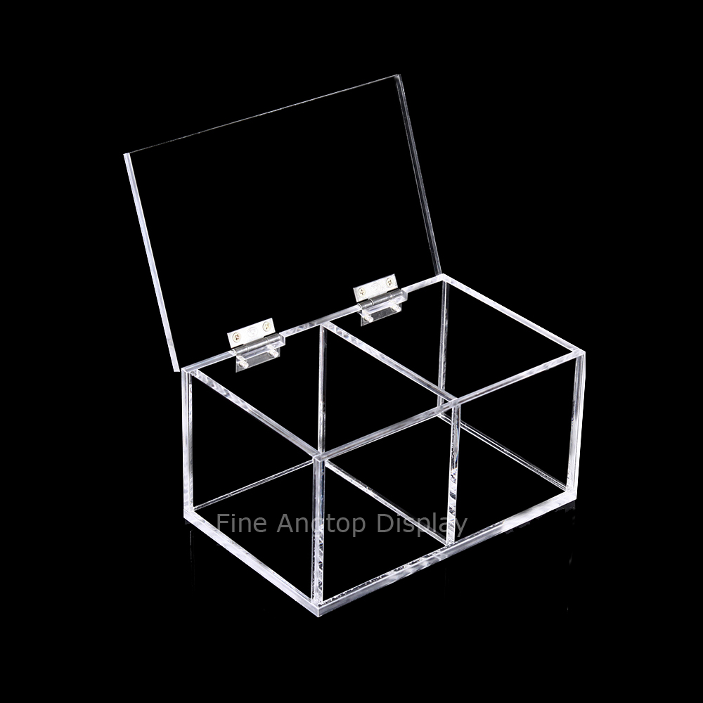 Clear Acrylic Cabinet Hinged Box Makeup Case Jewelry Display Storage Organizer цены