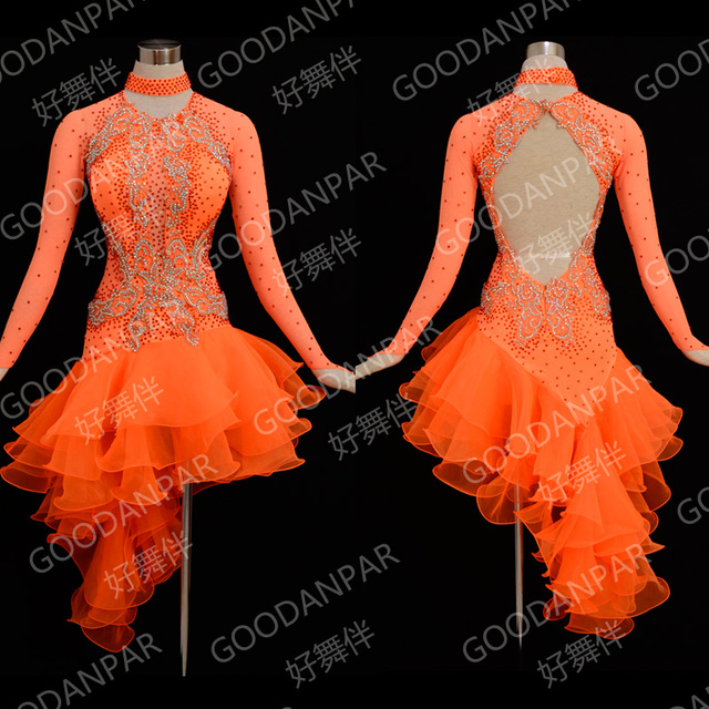 c002c1410 Women latin dance dress ballroom dance competition dresses sexy costumes  dance dress for girls samba dress orange Long Sleeve