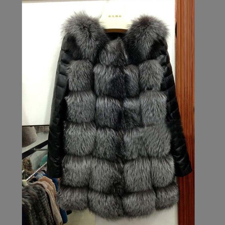 2018 haute qualité nouvelle haute imitation argent fourrure de renard manteau femmes fausse fourrure gilet PU manches chaud hiver manteau renard manteau femmes pardessus