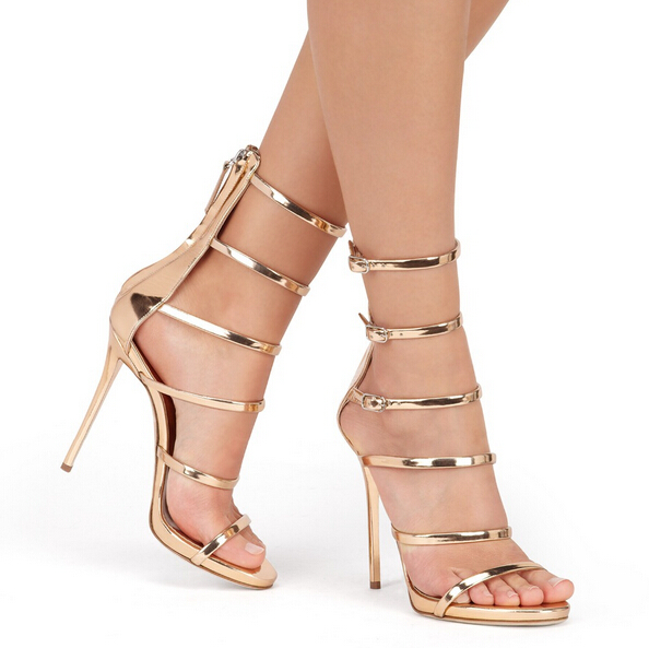 Hot Selling Gold Metallic High Heel Sandal 2017 Cut-outs Buckle Strappy Sandal Woman Sexy Gladiator Women Sandals Free Ship