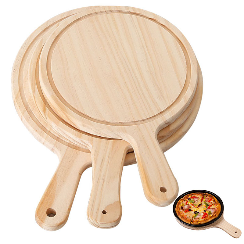 Wooden Pizza board Round with Hand Pizza Baking Tray Pizza Stone Cutting Board Platter Pizza Cake Bakeware Tools