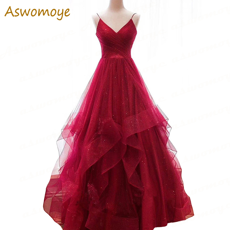 Wine Red Evening Dress Spring 2019 Sexy Backless Prom Dress Spaghetti Strap V-neck A Line Evening Gowns Haute Couture