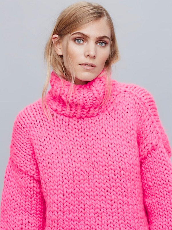2016 Women Sweaters And Pullovers Hot Pink Sweater Women Winter
