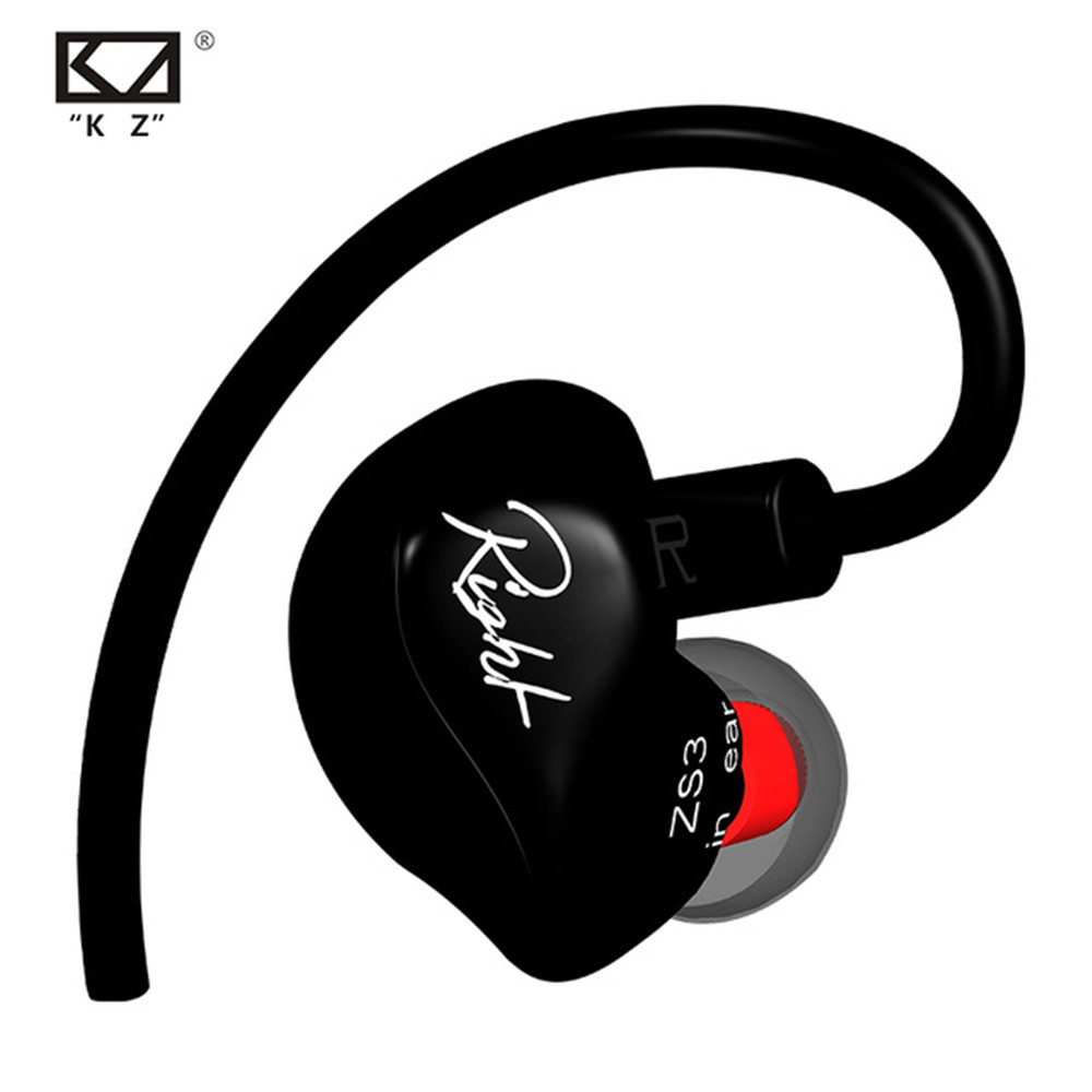 Original KZ ZS3 Detachable Cable Earphone In Ear Audio Monitors Noise Isolating HiFi Music Sports Earbuds With Microphone  dhl free 2pcs black white m6 pro universal 3 5mm wired in ear earphone noise isolating musician monitors brand new headphones