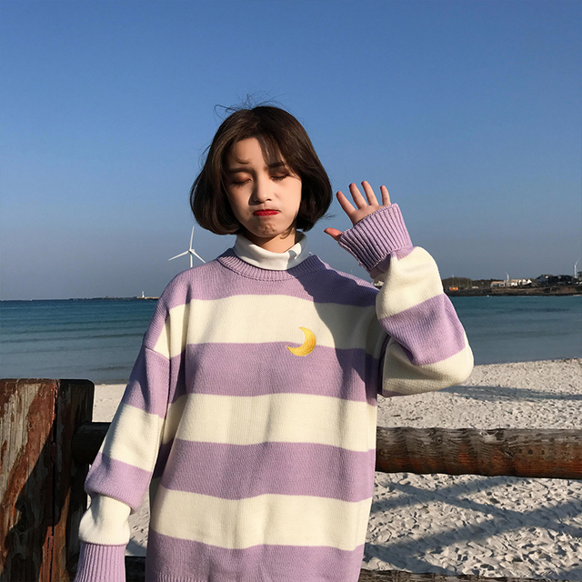 Women's Sweaters Kawaii Ulzzang College Candy Color Stripes Moon Sets Embroidery Sweater Female Harajuku Clothing For Women Lady 2