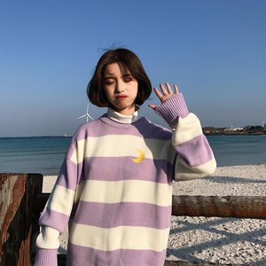 Image 2 - Womens Sweaters Kawaii Ulzzang College Candy Color Stripes Moon Sets Embroidery Sweater Female Harajuku Clothing For Women Lady