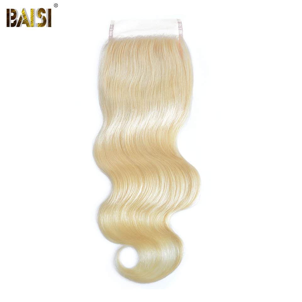 BAISI Brazilian Body Wave Hair 613 Colored Blonde Lace Closure 100 Human Hair