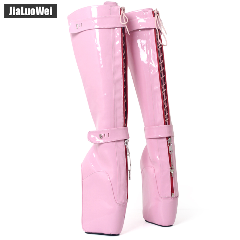 jialuowei 7 Extreme High Heel Wedge Heelless Sole Sexy Fetish Lockable YKK Zipper Knee-High Padlocks Ballet Boots Free shipping jialuowei lace up buckles ballet boots 18cm 7 extreme high heel hoof fashion sexy fetish zip over knee thigh high long boots