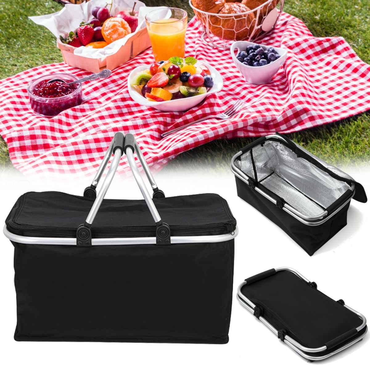30L Black Folding Picnic Camping Bags Insulated Cooler Cool Hamper Storage Basket Bag Box Outdoor Picnic Bags